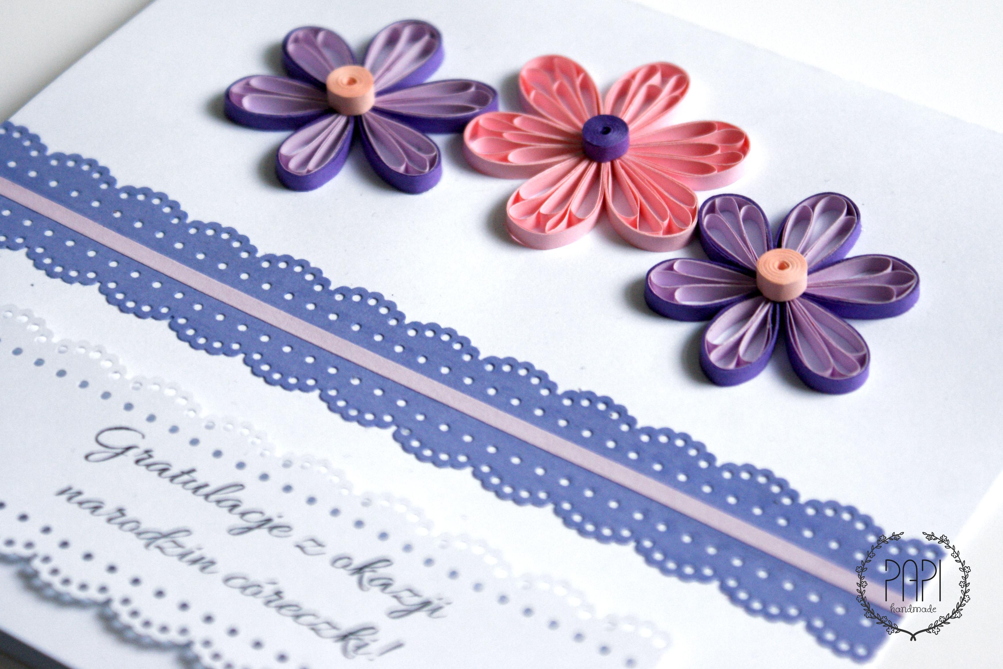 Kartka ręcznie robiona quilling na narodziny córki dziecka z koronką i kwiatami