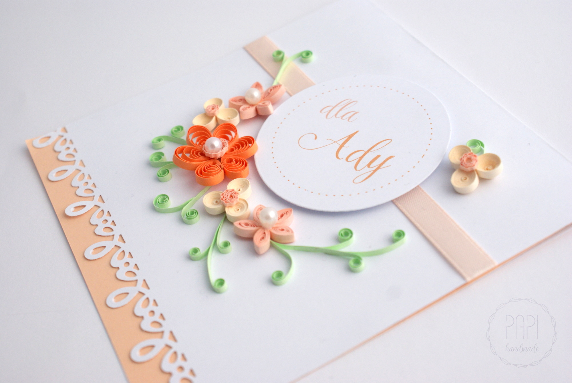kartka urodzinowa z kwiatami ręcznie robiona