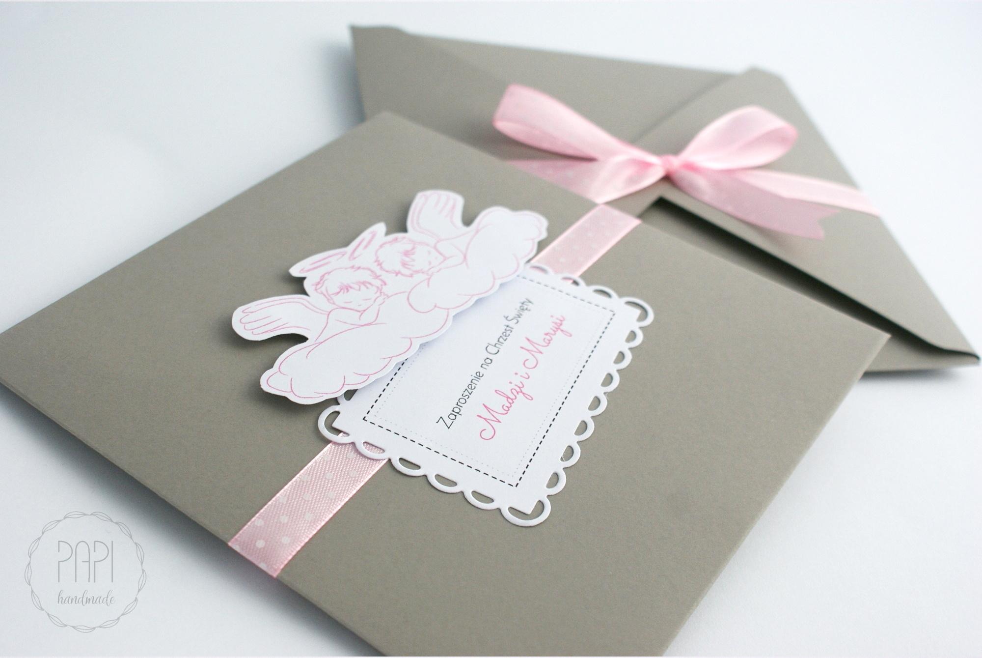 zaproszenia aniołki szaro różowe eleganckie
