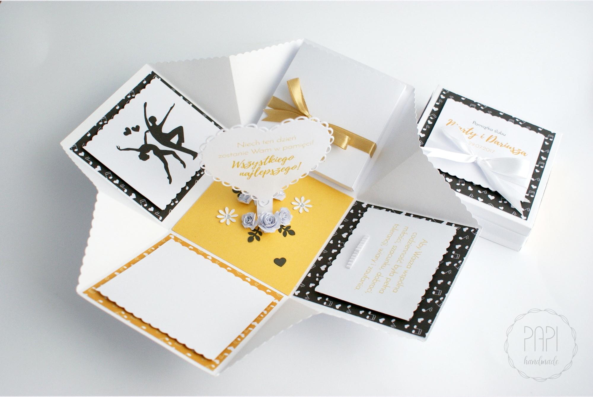 exploding box złoty na ślub elegancki