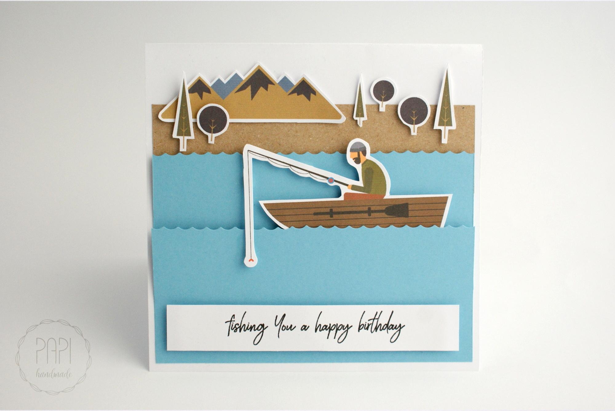 kartka dla rybaka łowi ryby