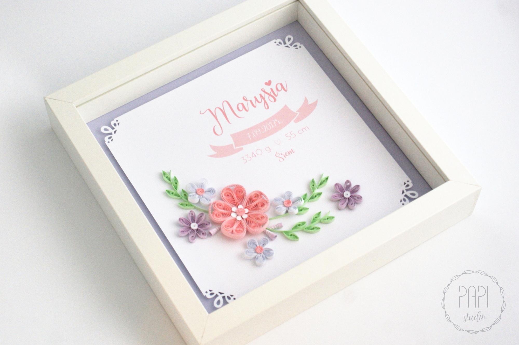 metryczka dla dziewczynki handmade prezent