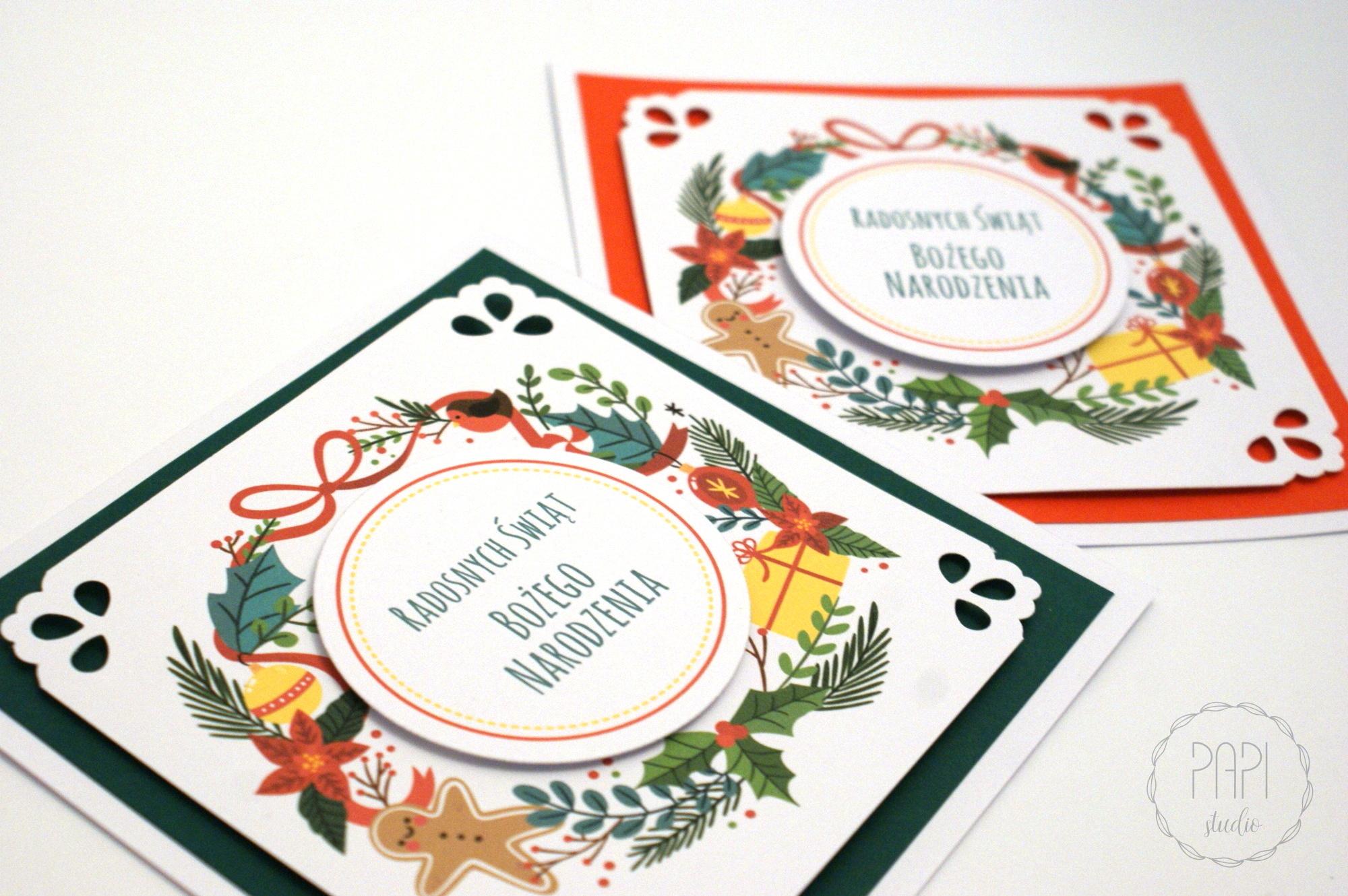 klasyczne kartki świąteczne z wieńcami