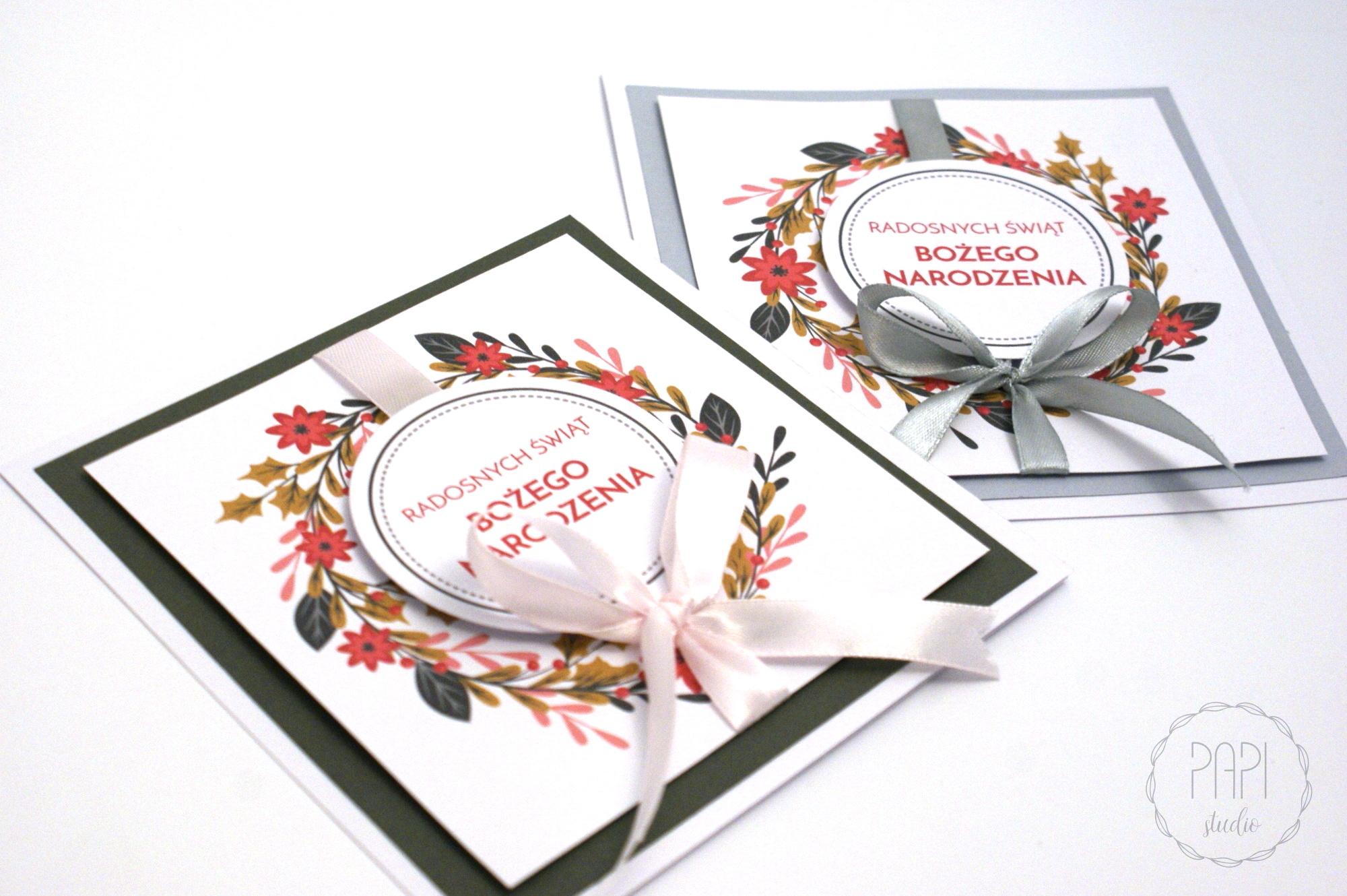 kartka świąteczna ze wstążką