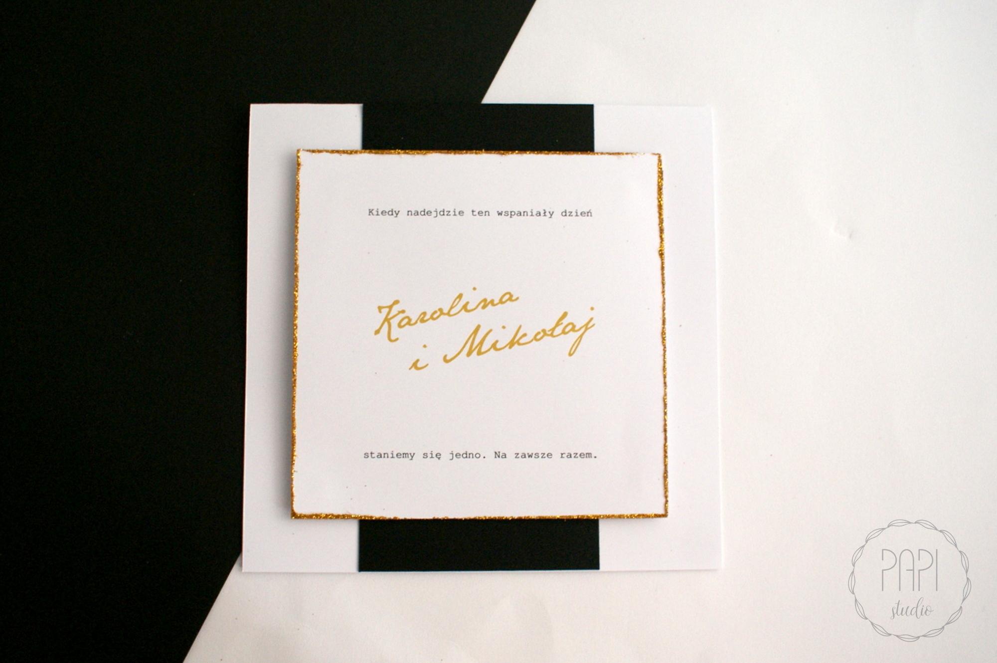 zaproszenie czarno biało złote minimalistyczne
