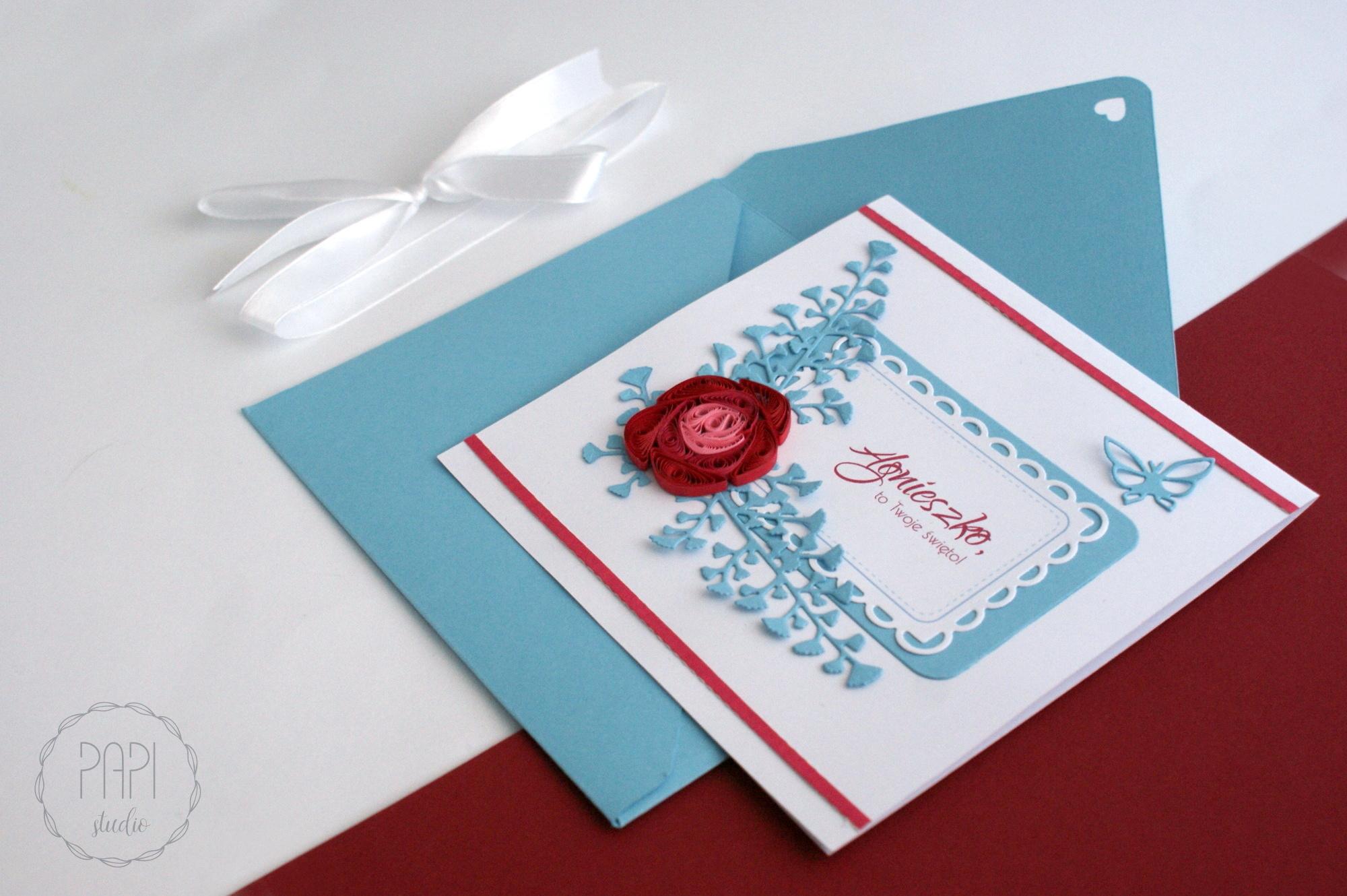 imieninowa kartka z różą