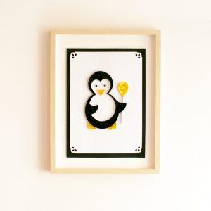 obrazek quilling pingwin personalizowany