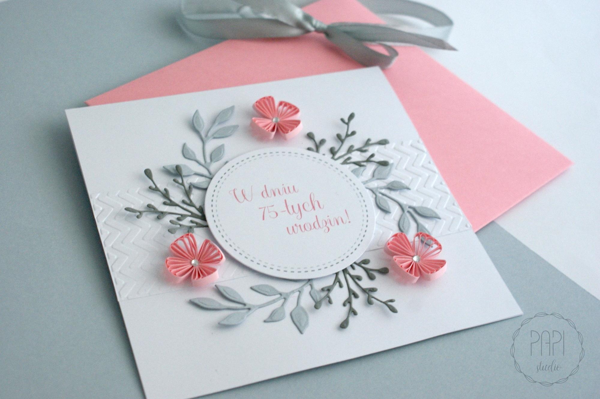 kartka z okazji 75 urodzin szaro różowa