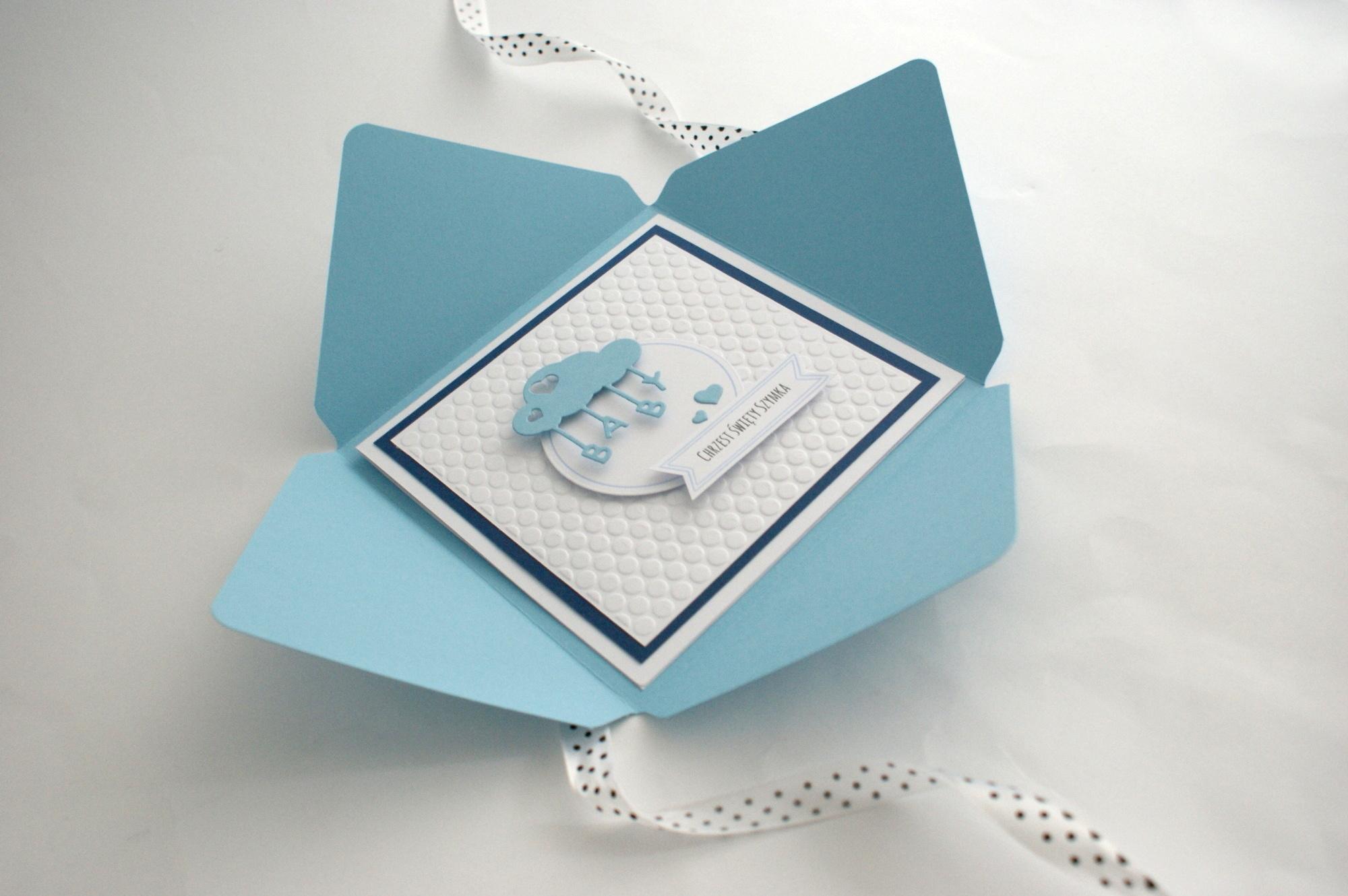 kartka dla chłopca na chrzest w kopercie