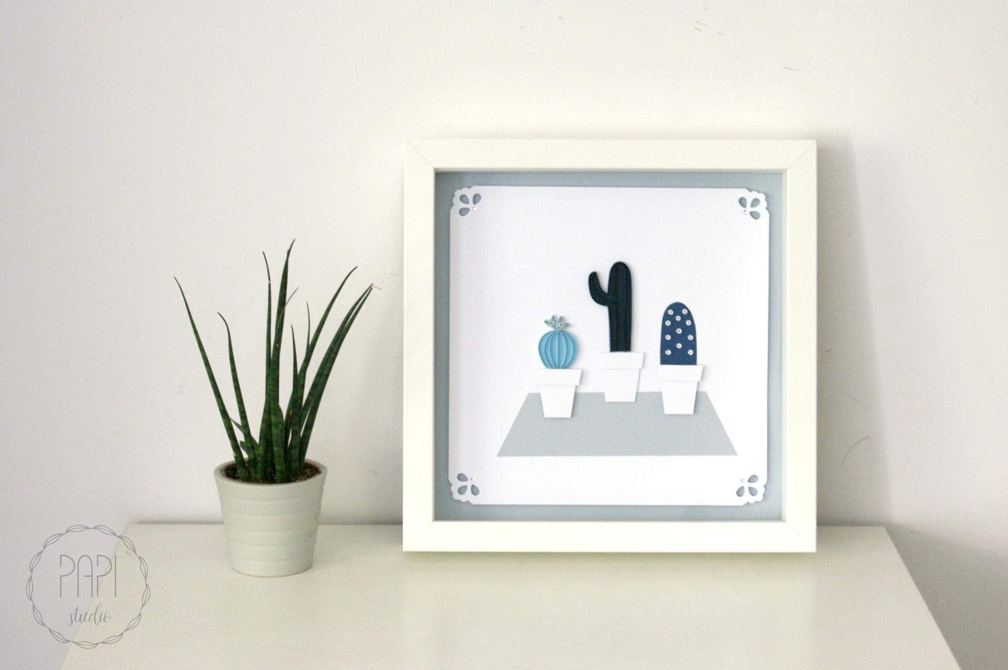obrazek z kaktusami Neli handmade