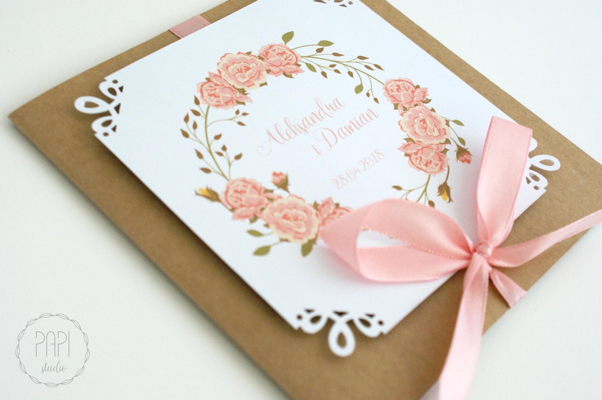 kartka na ślub z różami wieniec