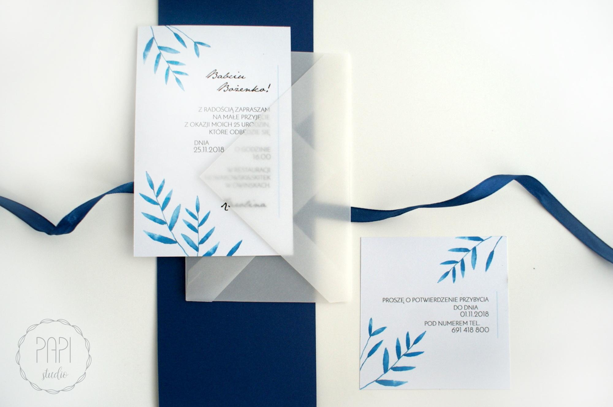 nowoczesne akwarelowe zaproszenia liście
