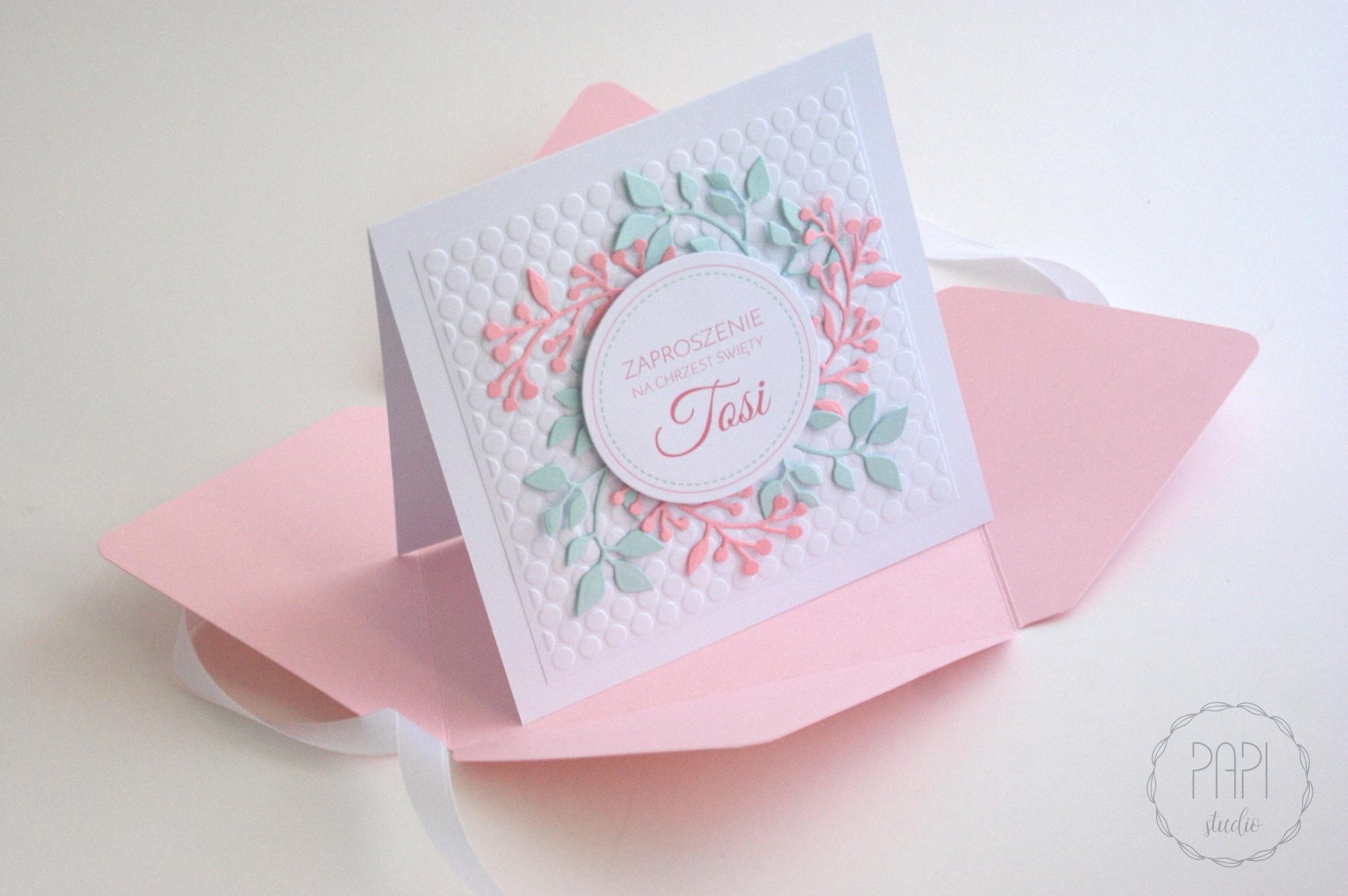 miętowo różowa kartka z wiankiem zaproszenie ręcznie robione