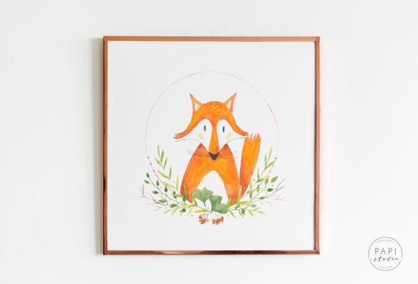 akwarelowy obrazek lisek leśne dla dzieci pokókj dziecka