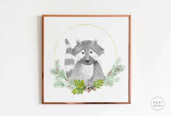 ilustracja plakat obrazek do pokoju dziecięcego szop leśne zwierzęta