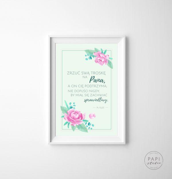 obrazek z cytatem z Pisma Świętego akwarelowe kwiaty
