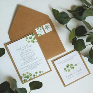 zaproszenia eco boho eukaliptusy akwarelowe na ślub